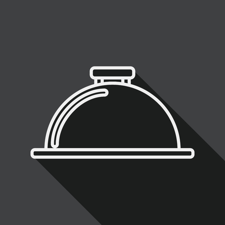 silver service: Restaurant cloche flat icon with long shadow, line icon