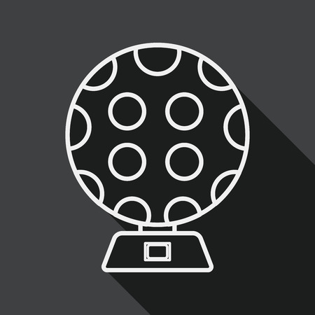 disco lights: disco lights flat icon with long shadow, line icon