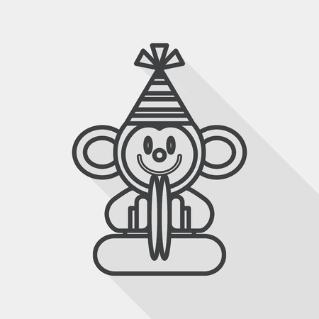 cymbals: monkey toy flat icon with long shadow, line icon Illustration