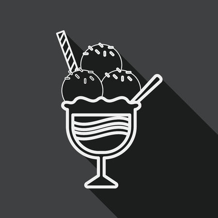 mixed nuts: ice cream flat icon with long shadow, line icon