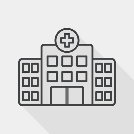 building hospital flat icon with long shadow, line icon