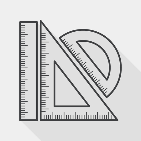 Ruler flat icon with long shadow, line icon Vettoriali