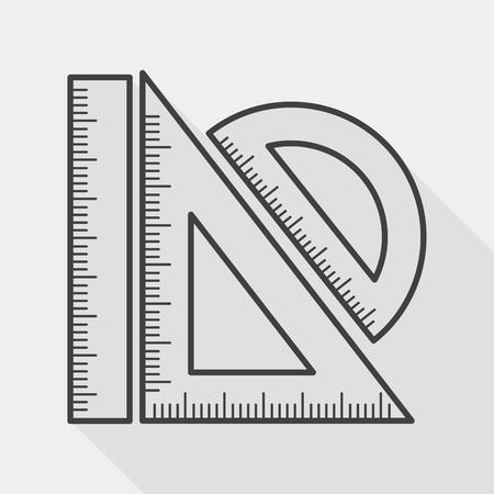 Ruler flat icoon met lange schaduw, lijn pictogram