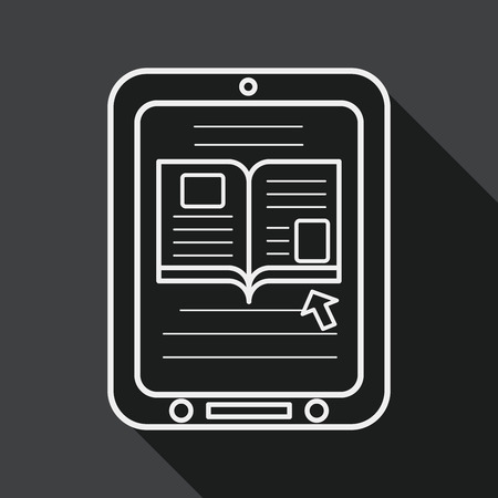 apprenticeship: e-learning flat icon with long shadow, line icon Illustration