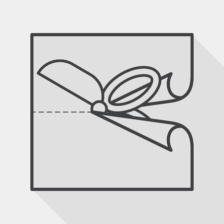 scissor cut: Scissor cut paper flat icon with long shadow, line icon