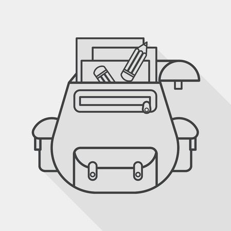 case studies: backpack flat icon with long shadow, line icon