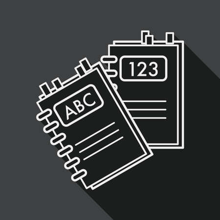 periodicals: notebook flat icon with long shadow, line icon