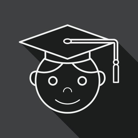 valedictorian: Graduation Man flat icon with long shadow, line icon