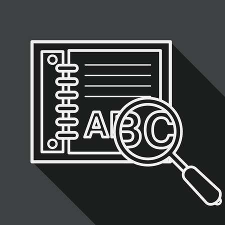 thesaurus: search Dictionary book flat icon with long shadow, line icon