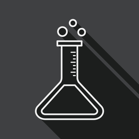 drug discovery: test tube flat icon with long shadow , line icon