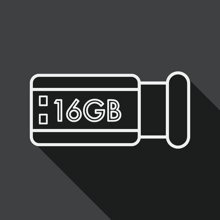 flash memory: Usb flash memory flat icon with long shadow, line icon