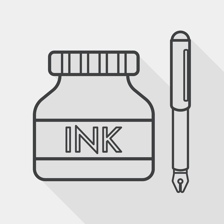 utiles escolares: pluma y tintero icono plana con larga sombra, icono l�nea