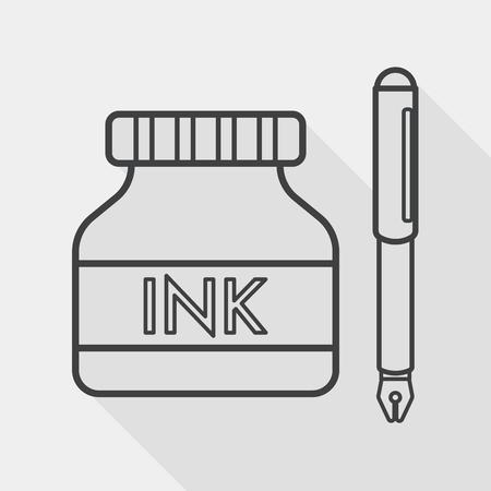 fournitures scolaires: stylo et bouteille d'encre ic�ne plat avec ombre, ic�ne de la ligne