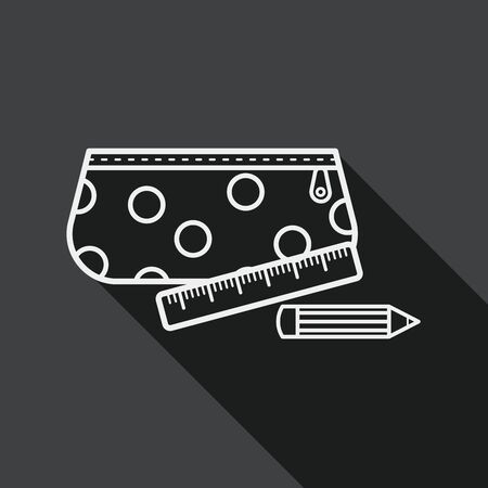 pencil box: pencil box flat icon with long shadow, line icon