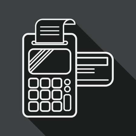 cardreader: Shopping credit card machine flat icon with long shadow, line icon