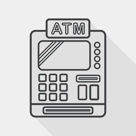checkout counter: shopping cash register flat icon with long shadow, line icon