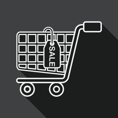 shoppingcart: shopping cart flat icon with long shadow, line icon