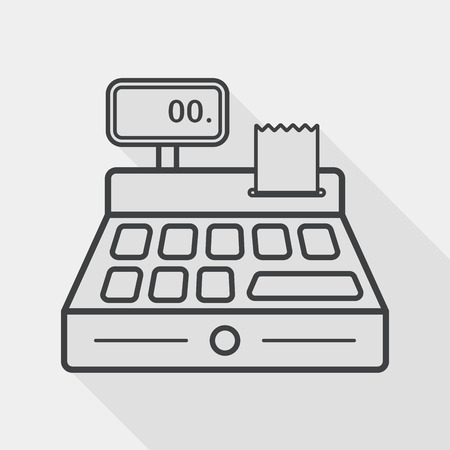 maquina registradora: icono plana compras caja registradora con una larga sombra, icono l�nea