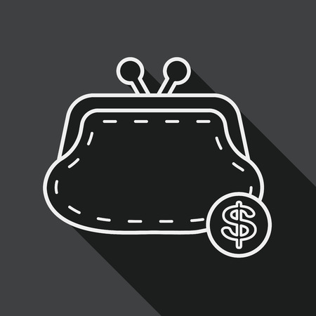 change purse: shopping change purse flat icon with long shadow, line icon Illustration