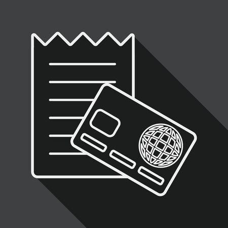 creditcard: icono plana tarjeta de cr�dito comercial con larga sombra, icono l�nea