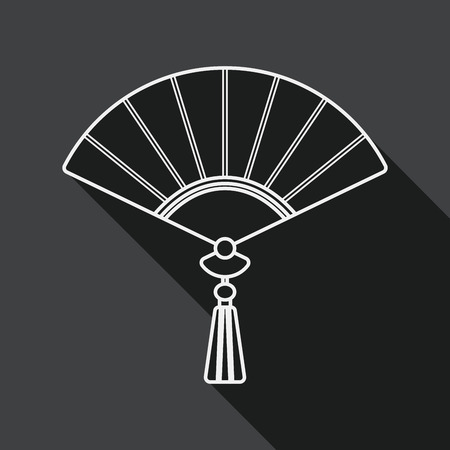 open fan: Chinese New Year flat icon with long shadow, Chinese foldi, line icon Illustration