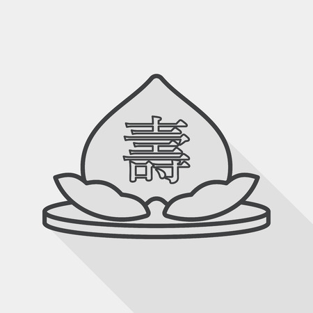 immortality: Chinese New Year peaches of immortality flat icon with long shad, line icon Illustration