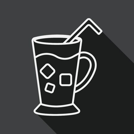 iced: iced drink flat icon with long shadow, line icon Illustration