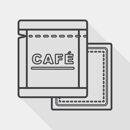 koffiebaal: koffie tas plat icoon met lange schaduw, lijn pictogram