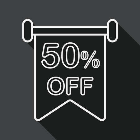 sale sign: shopping sale sign flag flat icon with long shadow, line icon