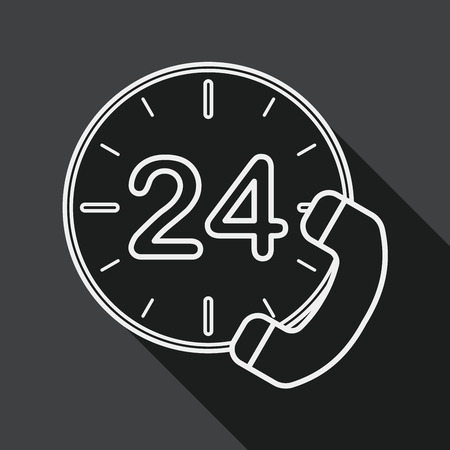 24 hours: 24 hours customer phone service flat icon with long shadow, line icon