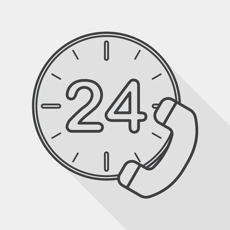 comunication: 24 hours customer phone service flat icon with long shadow, line icon