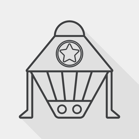 Spaceship flat icon with long shadow, line icon Vector