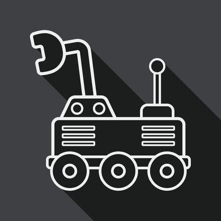 rover: Space Rover flat icon with long shadow, line icon