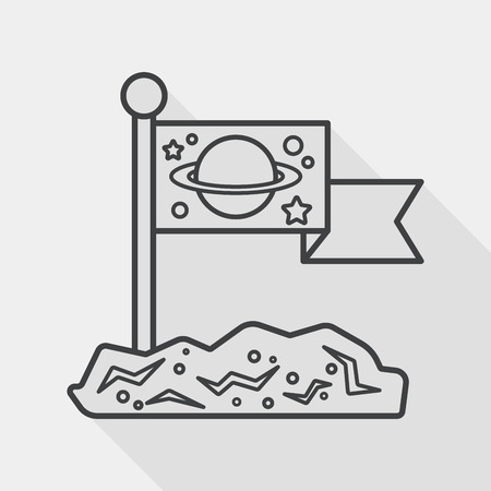 Space moon surface flat icon with long shadow, line icon Vector