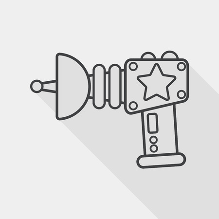 raygun: Space gun flat icon with long shadow, line icon