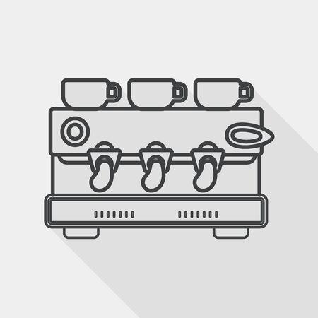 koffiezetapparaat vlakke icoon met lange schaduw, lijn pictogram