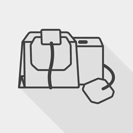 coffee bag: coffee bag flat icon with long shadow, line icon