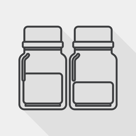 bottled: Glass bottled drinks flat icon with long shadow, line icon