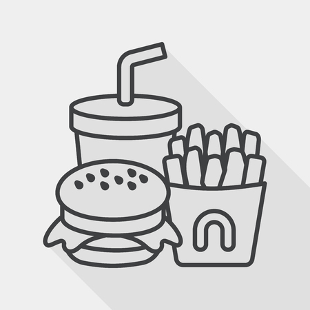 fast food flat icon with long shadow, line icon Vector