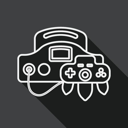handheld: Handheld game consoles flat icon with long shadow, line icon