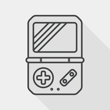 handheld device: Handheld game consoles flat icon with long shadow, line icon