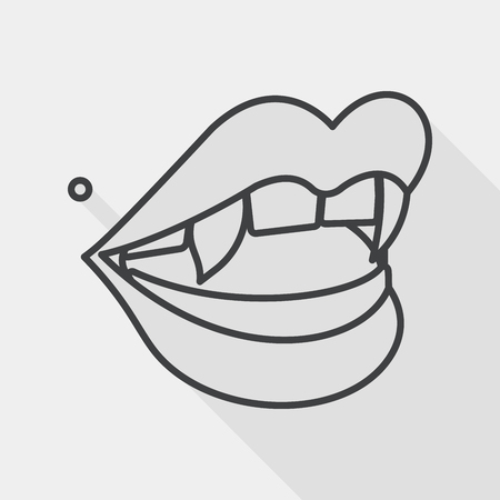 fangs: Halloween fangs flat icon with long shadow, line icon Illustration
