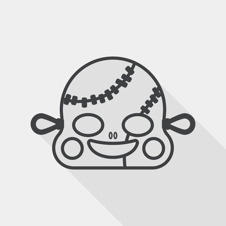 scar: halloween zombie flat icon with long shadow, line icon