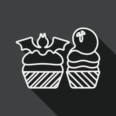 viewpoints: Halloween cupcakes with bat flat icon with long shadow, line icon Illustration