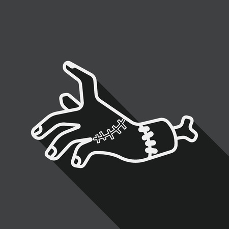 dangle: Halloween zombie hand flat icon with long shadow, line icon