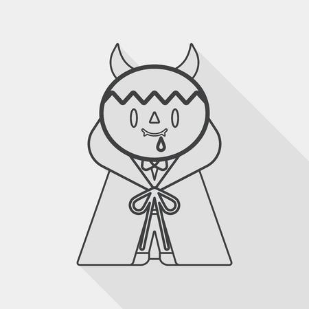 inhumane: Vampire flat icon with long shadow
