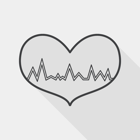 ecg heart: ECG heart flat icon with long shadow, line icon Illustration
