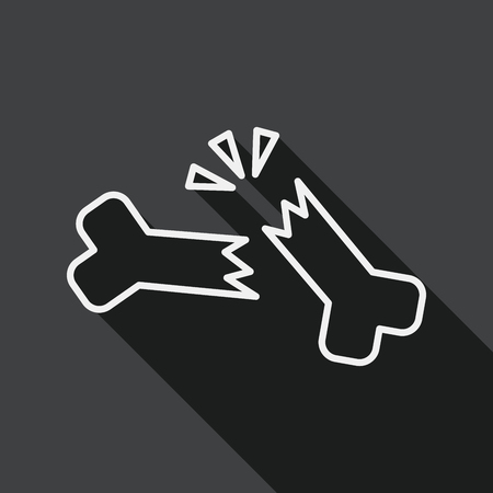 bone fracture: bone fracture flat icon with long shadow, line icon