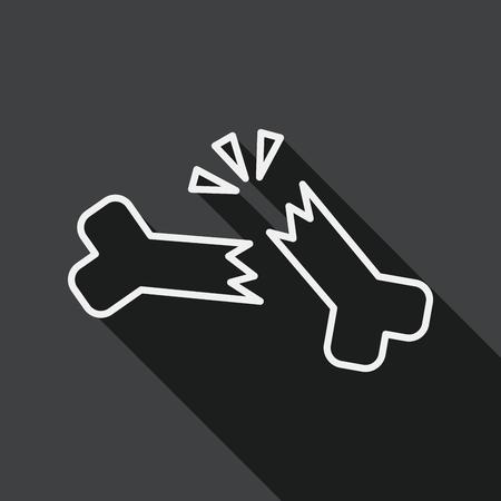 fractura: icono plana fractura �sea con una larga sombra, icono l�nea