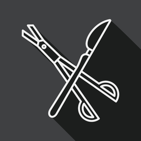 incision: Surgical Instrument flat icon with long shadow, line icon